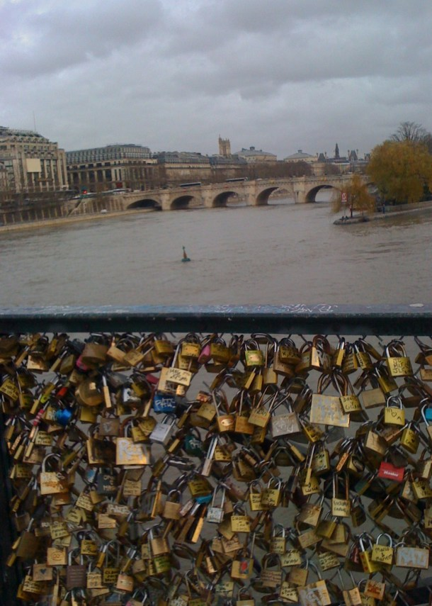 I know about the environmental problem with these locks but people obviously do not know and continue to pledage thier love by attaching a lock to the Pont des Arts.  we estimated 60.000 locks most of which were dated 2012.