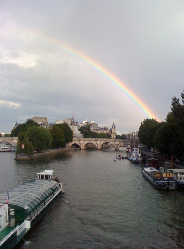 Another nice memory. Crossing the Seine with Friends from the Cafe de Flore., we Spotted this wonderful rainbow.  Who was there?