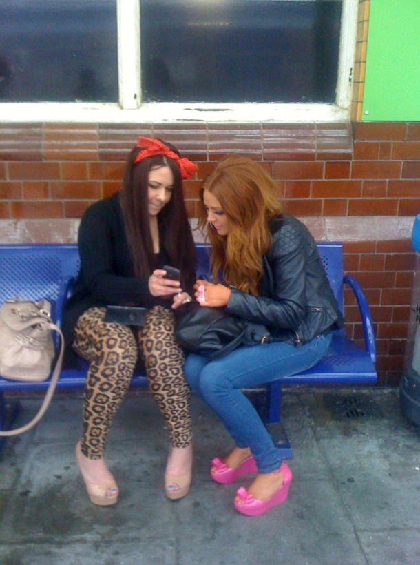Two Northern girls on Bolton Station