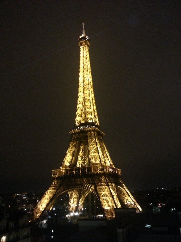 """Eiffel tower from the 10th floor temporary  """"pop up"""" bar at the Pullman Eiffel hotel."""