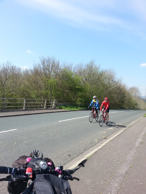 As I was taking the pictures over the A59 these friendly cyclists, shouted at me to take thier photo too so here they are!