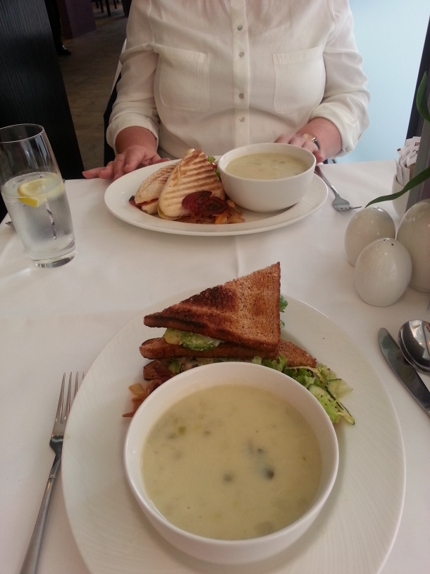 Soup and sandwiches, delicious lunch